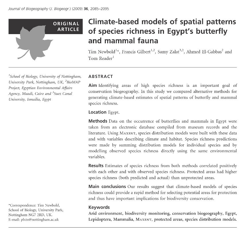 Climate-based models of spatial patterns of species richness in Egypt's butterfly and mammal fauna